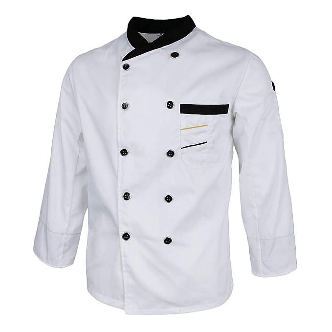 Baoblaze Chaqueta de Unisex Chef Camarero Traje Abrigo ...