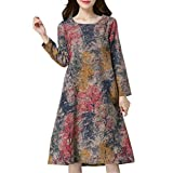 OWMEOT Women's V Neck Summer Print A-line Casual Swing Midi Skater Evening Party Long Dress Sundress Plus Size (Red, M)