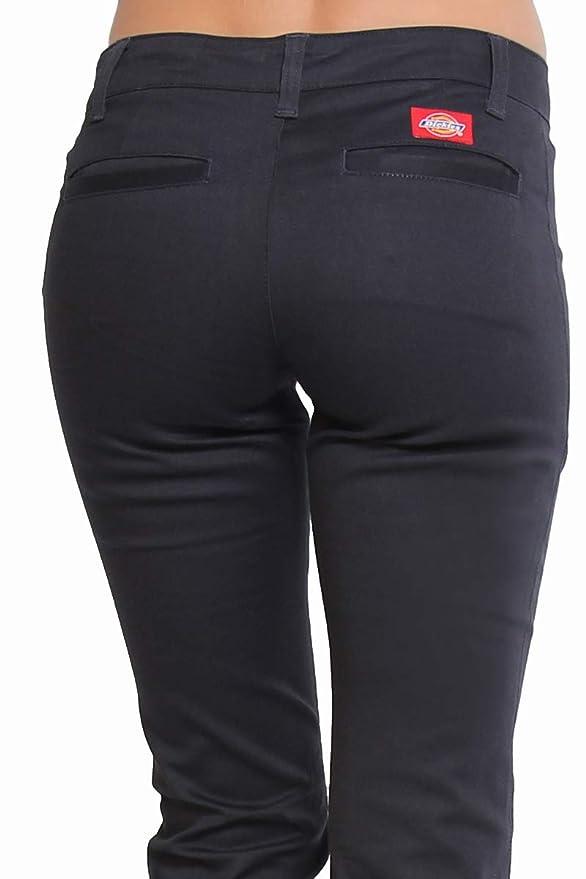 41cb5cdd61642 TheMogan Junior's Dickies Girl Slim Fit Bootcut Leg Worker Pants Navy 1 at  Amazon Women's Clothing store:
