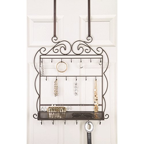 Large Decorative Hanging Over the door Jewelry, Belt Organizer, 19 Hooks, - Display Wall Sunglasses