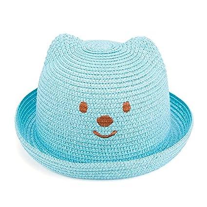 Gespout Cappellino per bambini Cappello di paglia Cappello da sole a tesa unica Sunbonnet per vacanze al mare escursioni e canottaggio estivo