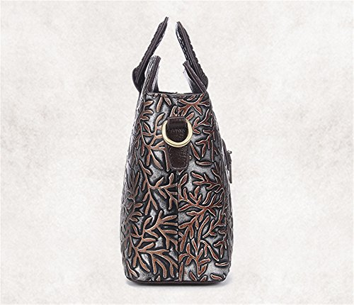 Moda retro XinMaoYuan barrido artesanal bolso de cuero Repujado Bolsa bandolera cartero,paquete Silver Silver
