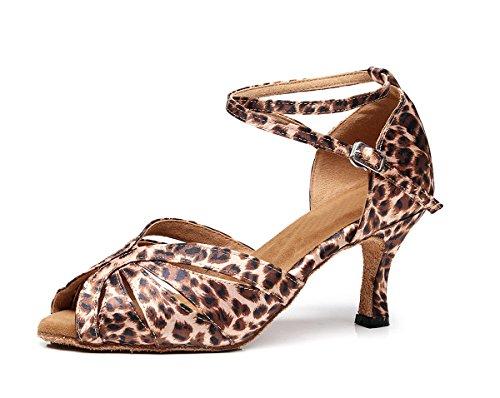 Minishion Tj7140 Delle Donne Delle Ragazze Leopard Fibbia Raso Latino Ballo Scarpe Da Ballo Partito Sandali Marrone-7.5 Cm Tacco