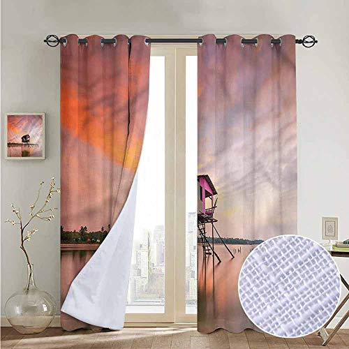 (NUOMANAN Customized Curtains Rustic,Sunset Ocean Twilight,Blackout Thermal Insulated,Grommet Curtain Panel 1 Pair100 x96)