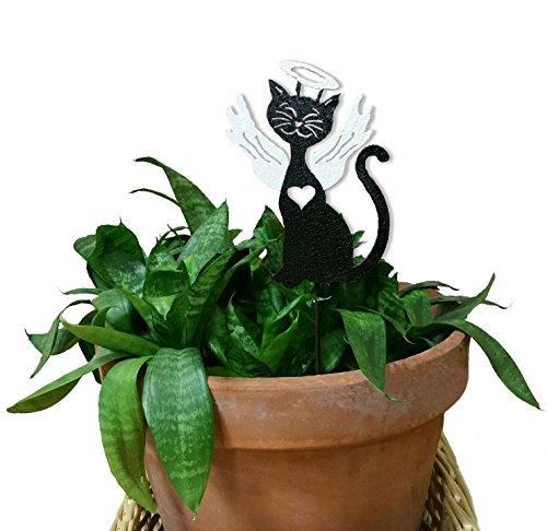 (Cat Angel Plant Stake / Black / Rustic)