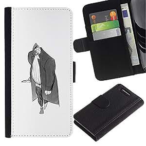 Be-Star la tarjeta de Crédito Slots PU Funda de cuero Monedero caso cubierta de piel Sony Xperia Z3 Compact ( Man Big Grey Pencil Art Drawing Wanderer )