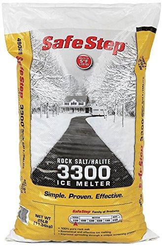 (Safe Step Rock Salt/Halite Standard 3300 Ice Melter Non-Corrosive Safe for Concrete Sidewalks, Driveway Pavement- 25 Pound Bag )