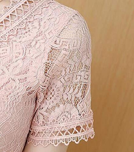 pizzo maniche Rosa femminile sottile Abito sottile RBB a maniche corte Abito in corte estivo a qzX6S