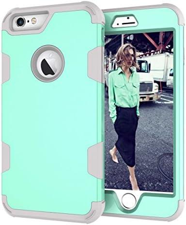 iPhone 6 Plus/iPhone 6S Plus ケース, CUNUS Apple iPhone 6 Plus/iPhone 6S Plus 人気 ケース, 背中の PC ケース 付き シリコン おしゃれ かわいい 耐衝撃 保護カバー, グリーン