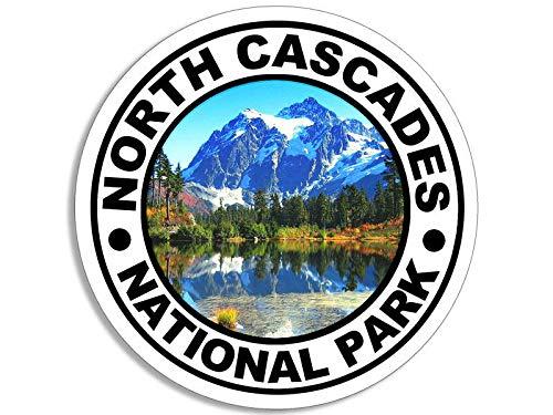 JR Studio 4x4 inch Round North Cascades National Park Sticker - Decal Hike Camp Washington Vinyl Decal Sticker Car Waterproof Car Decal Bumper Sticker