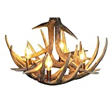 Rustic Antler Chandelier Lighting Ceiling Pendant Lamp with 4-Light For Restaurants,Bedrooms,Dinning Room (4-Light)