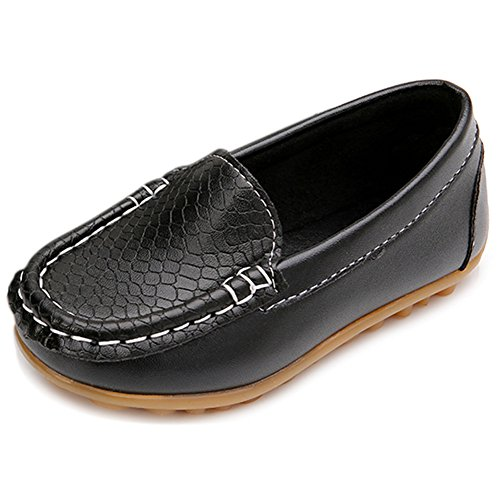 LONSOEN Toddler/Little Kid Boys Girls Soft Synthetic Leather Loafer Slip-On Boat-Dress Shoes/Sneakers,Black,SHF103 CN27