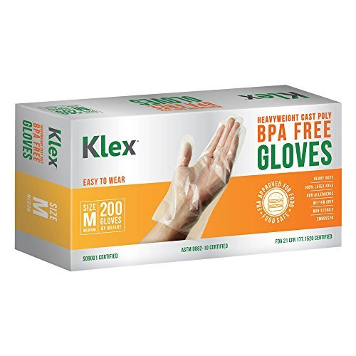 KLEX 200 Heavyweight Cast Poly Disposable Kitchen Gloves Medium, BPA Free, Food Grade ()