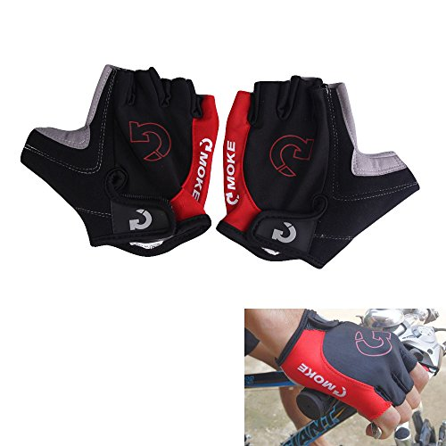 Domybest Fashion Cycling Bicycle Motorcycle Sport Gel Half Finger Gloves Red Size M