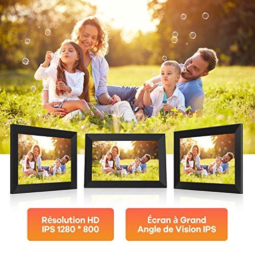Cadre Photo Numérique WiFi, Cadre Numérique Écran Tactile IPS 10 Pouces Résolution Full HD 1280 * 800, Cadre WiFi Auto-Rotation, Mode Nuit, 16G de Mémoire Interne, Prumya