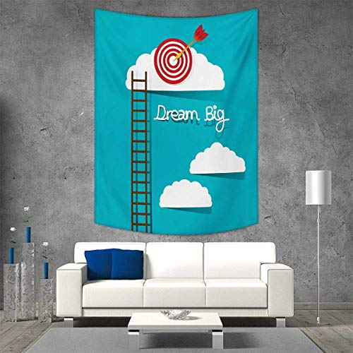 smallbeefly Inspirational Customed Widened Tapestry Dream Big Phrase with Dart Board Fluffy Clouds Staircase Optimistic Attitude Wall Hanging Tapestry 70W x 93L INCH (Grand Staircase Wall Tapestry)