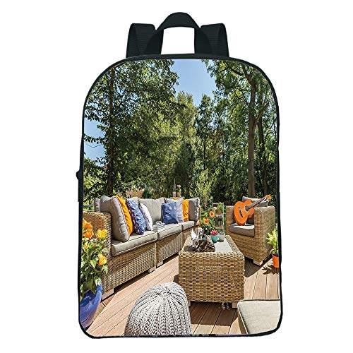 Cheap  iPrint Customizable Mini Black knapsack,Patio Decor,Summer Town House Terrace Balcony Trees Image,Light..