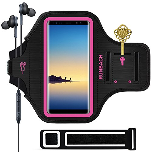 Galaxy Note 9/8 Armband,RUNBACH Sweatproof Running Exercise Gym Cellphone Sportband Bag with Fingerprint Touch/Key Holder and Card Slot for Samsung Galaxy Note 9/Note 8 (Pink)