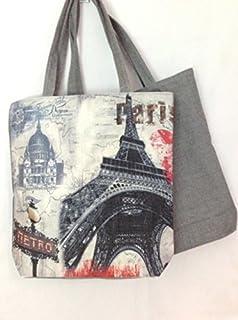 Eiffel Tower Print French Vintage Satchel Bag Bons Baisers De Paris 9.4 X 9 X 2.4 Beige Pinkish
