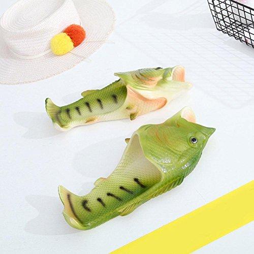 XINXINYU Mens Sommer Hausschuhe, Kreative Unisex Flip-Flops Sandalen } { Fisch Dusche Hausschuhe } { Lustige Strandschuhe Sandalen Schuhe } Grün