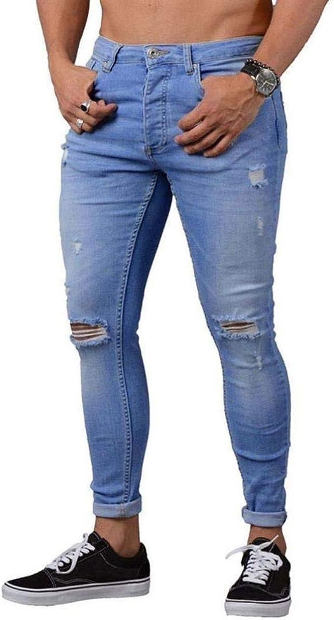 Pantalones para Hombre Demin Jogger Jeans Slim Fit Modernas Casual ...