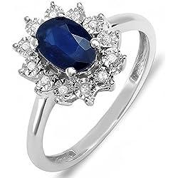 Kate Middleton Diana Inspired 10K Gold Diamond & Blue Sapphire Royal Bridal Ring