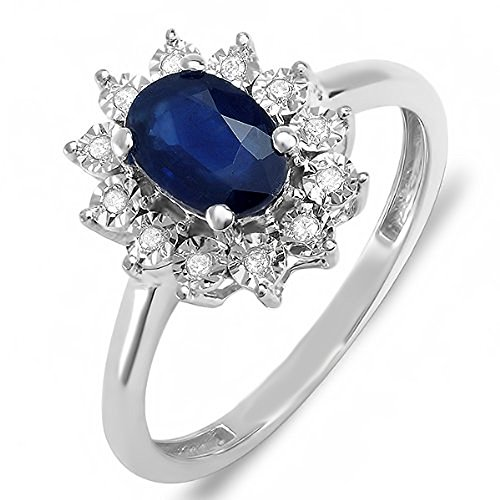Blue Sapphire Gold 18k Ring - Kate Middleton Diana Inspired 18K White Gold Real Round Diamond Real Oval Blue Sapphire Ring (Size 7)