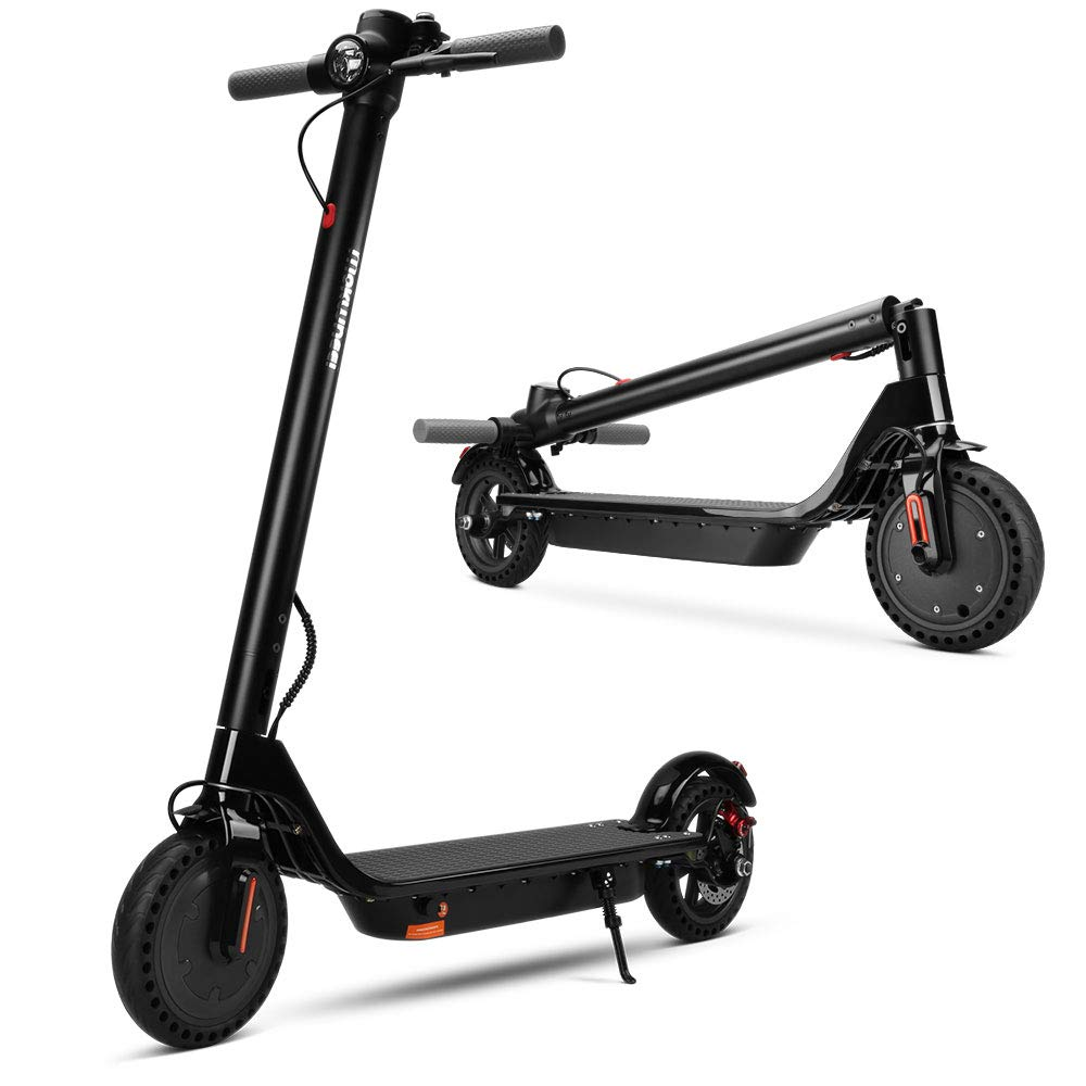 "mokwheel Electric Scooter, 15.5mph on 8.5"" Run Flat Cushioned Tires, Foldable, Portable - City Commuter Scooter"