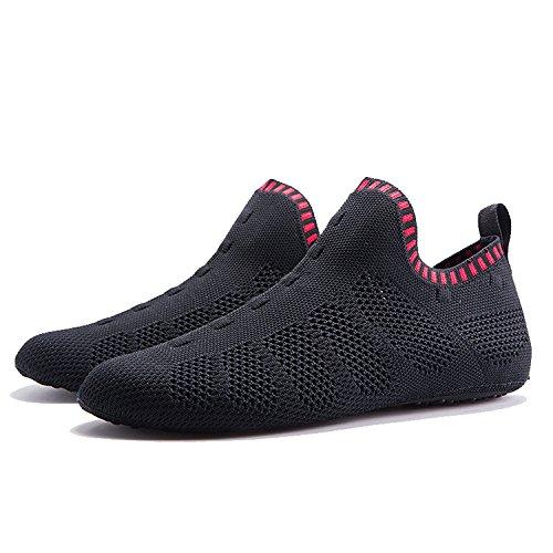ONEMIX Herren Damen Sneakers leichte atmungsaktive Outdoor Wanderschuhe sockenähnliche Turnschuhe C-schwarz / rot