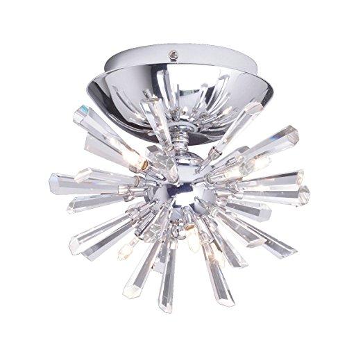 (DINGGU Modern Flush Mounted Crystal LED Ceiling Lamp Chandelier Light Fixtures Included 6 Lights Led Bulbs W8.5