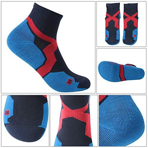 Trail Running Socks, ZEALWOOD Athletic Running Socks for Men and Women,Merino Wool Low Cut Antibacterial Wicking Socks 3 Pairs-Blue Black by ZEALWOOD (Image #5)