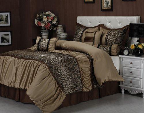 7-piece Ruched Jacquard Leopard Comforter Set Queen ()
