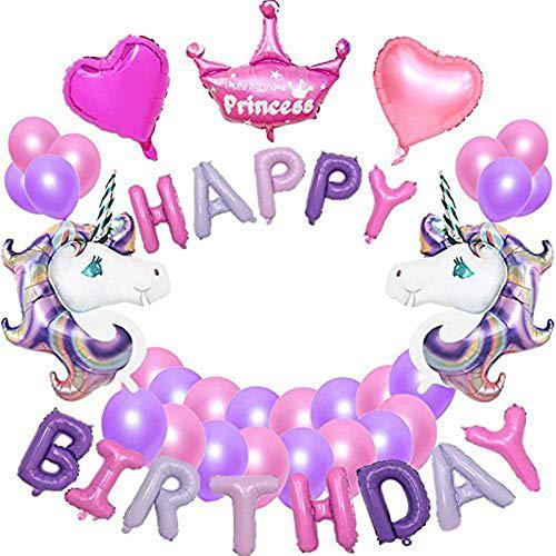 VSTON Unicorn Party Decoration, Purple Unicorn Balloons Happy Birthday Banner Princess Crown Balloons 2 Heart Balloons and 20 Latex Balloons (26 PCS) -