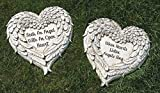 Roman Set of 2 Heart Shaped Angel Wings with Religious Quote Outdoor Patio Garden Stones 12''