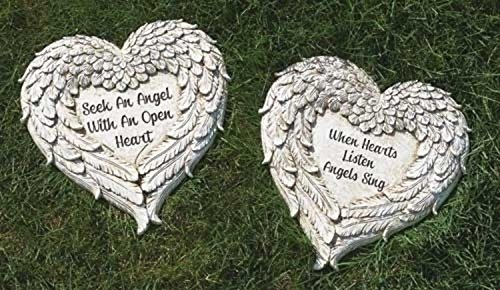 Roman Set of 2 Heart Shaped Angel Wings with Religious Quote Outdoor Patio Garden Stones 12'' by Roman