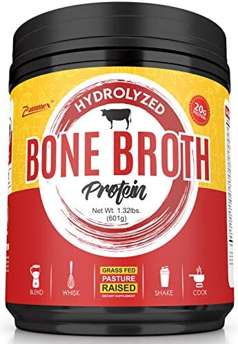 Hydrolyzed Bone Broth Protein Powder - Grass Fed, Pasture Raised Non-GMO, Paleo Friendly, Gluten Free Best Value-601 Grams-Great for Weight Management, Digestive System, Healthy Hair Skin