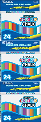 BAZIC Dustless Assorted Colored Chalk