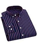 DOKKIA Men's Formal Business Vertical Striped Button Down Long Sleeve Dress Shirts (Medium, Navy Blue Red)