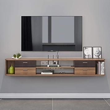 Mueble TV de pared Mueble de pared colgante Estante de la pared Estante flotante Set top box enrutador Estante de almacenamiento Juguete foto estante de exhibicion Con cajon Consola de TV: Amazon.es: