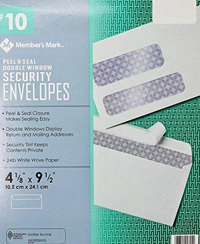 Member Mark #10 Peel & Seal Double Window Security Envelopes, 500 Count by Member's Mark