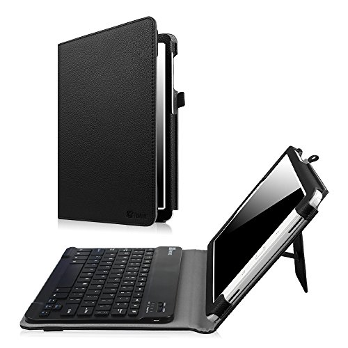 Samsung Galaxy Tab A 10.1 with S Pen Keyboard case, Fintie Slim Fit Folio PU Leather Case Cover with Detachable Magnetical Bluetooth Keyboard for Tab A with S Pen 10.1 inch Tablet SM-P580, Black