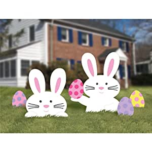 easter bunny yard party outdoor plastic sign decoration 5 pieces multi color. Black Bedroom Furniture Sets. Home Design Ideas