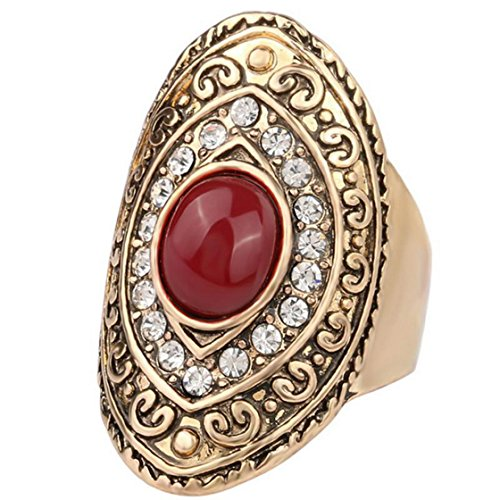 PSRINGS Design Big Ruby Exaggerated Retro Rings Ethnic Carved Totem Rings Fine Black Stone 10.0