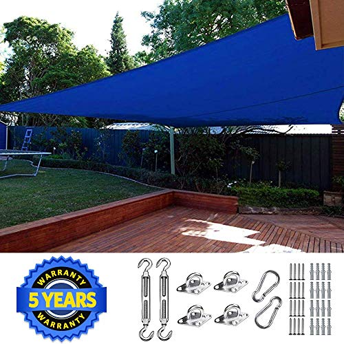 Quictent 26 x 20 ft 185GSM Sun Shade Sail Canopy Rectangle 98 UV-Blocked for Patio Outdoor Activities with Free Hardware Kit Blue