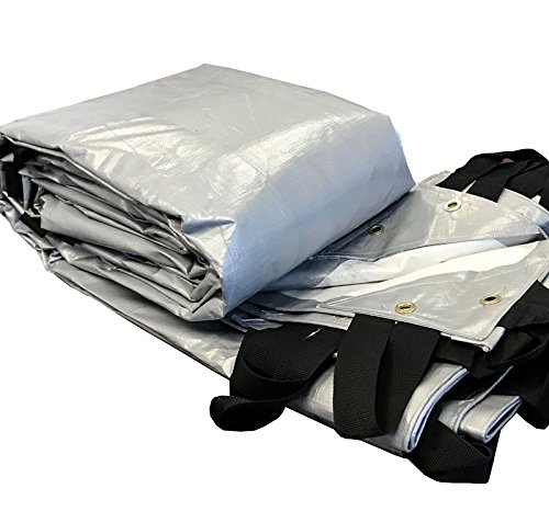 25-Foot by 33-Foot White and Silver Hay Reversible Multi-Purpose Waterproof Poly Tarp Cover for Tents and Weather Protection, 12 Mil