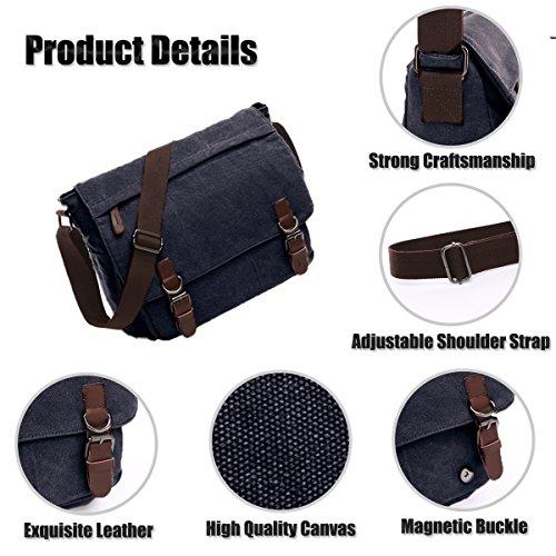 Tracolla Nero Del Laptop Messenger Borsa 16 Bag Pollici Messaggero A blu Tela Sacchetto Di Uomo Borsa Losmile 1Upwx