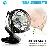 USB Clip On Fan, ICOCO PC Desk Mini Quiet for Personal with Powered Cooler Air Portable Silent Fans Powerful Computer Led Laptop Fan