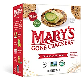 Mary's Gone Crackers Original Crackers, Organic Brown Rice, Flax & Sesame Seeds, Gluten Free, 6.5 Ounce (Pack of 6)