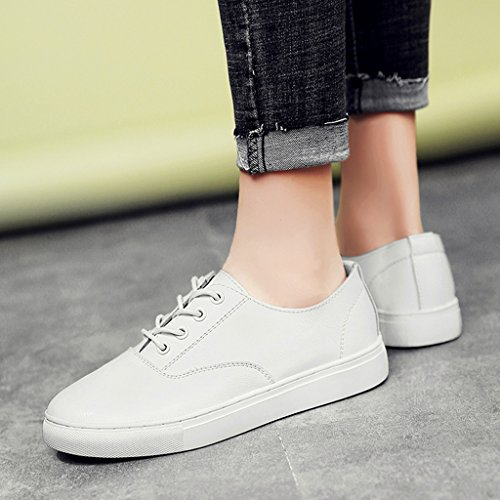 Platten 38 HWF Damenschuhe weibliche größe Schuhe Frauen zufällige der Farbe Weiß Frühlings einfache einzelne weiße flache Studenten Schuhe wSXqxF1S