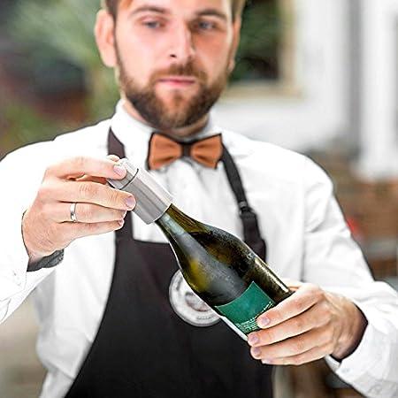Bluelover Tapón De Botella De Vino Sellado Al Vacío De Acero Inoxidable Tapón De Barra De Sellador De La Bomba Conservadora Mantenga Su Mejor Vino Fresco para Tapón De Botella De Vino Tinto De 750 Ml